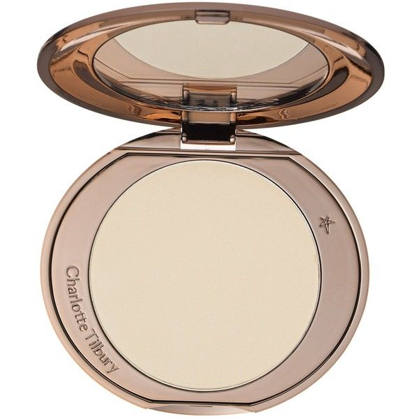 Charlotte Tilbury Air-Brush Flawless Finish skin-perfecting... ($35) ❤ liked on Polyvore featuring beauty products, makeup, face makeup, face powder, charlotte tilbury and powder brush