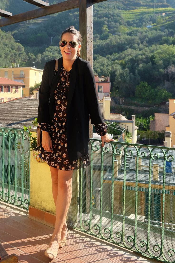 Flower prints on black bottom - long black blazer! Nina Campioni