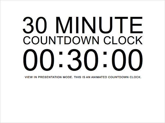30 minute white countdown clock presentation powerpoint
