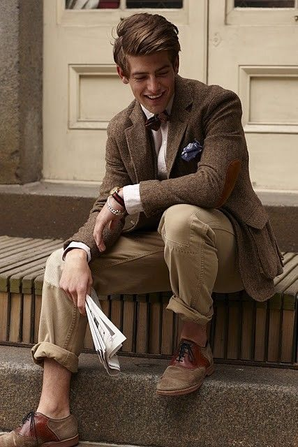 Brown Tweed Jacket, Khaki Chinos, Bow Tie, and Tan & Brown Nubucks. Men's Fall Winter Fashion.