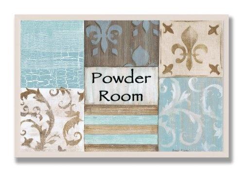 Stupell home decor collection powder room aqua and brown for Brown and aqua bathroom ideas