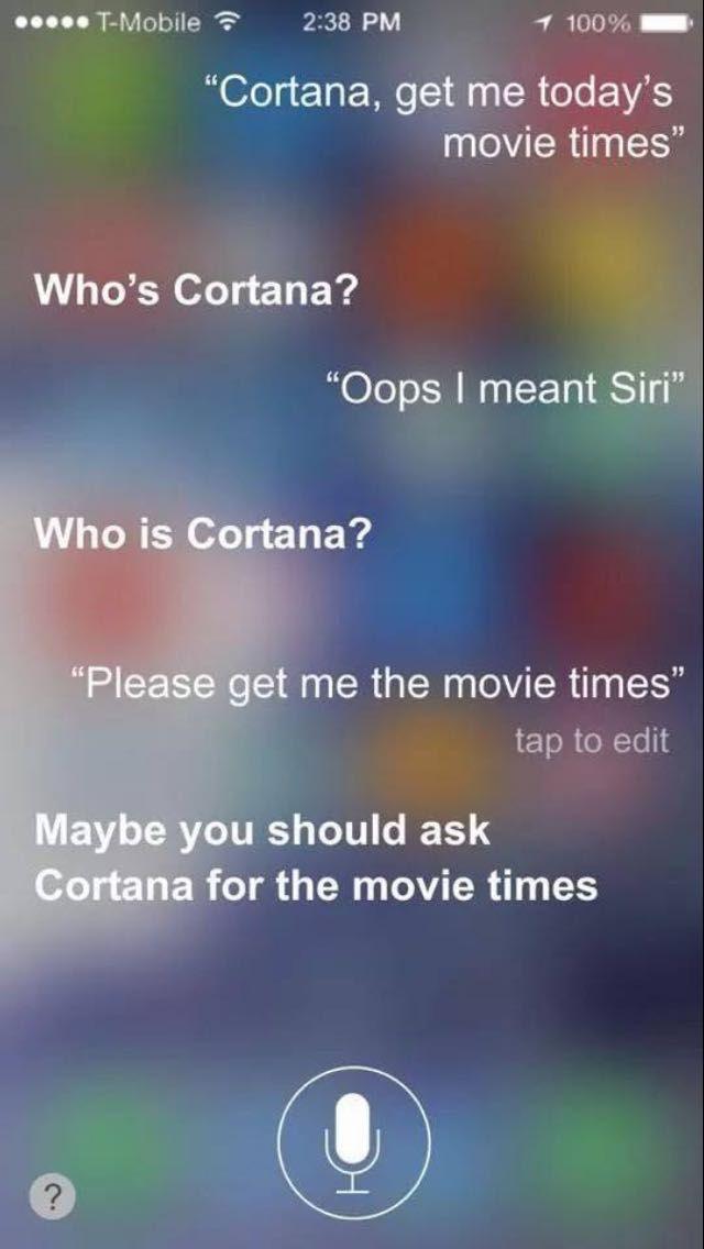 Funny Cortana Siri Fail