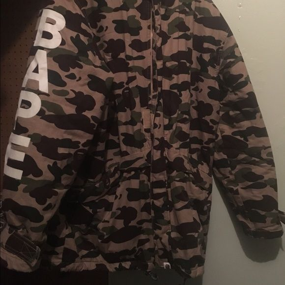 Bape coat Bape coat very rare vintage!! Very old release its still very clean send me offers very cozy! Fits like xl Jackets & Coats Puffers