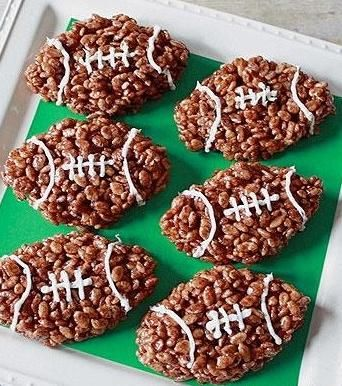 Football rice cereal treats http://greatideas.people.com/2014/01/23/super-bowl-game-day-football-shaped-foods-snack/