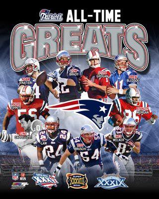New England Patriots All-Time Greats (10 Legends, 3 Super Bowls) Premium Poster Print