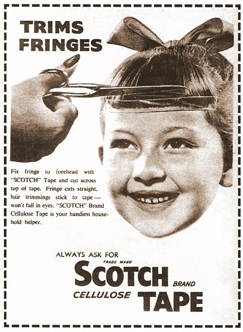 fringe trim scotch tape ad from 1950sPixie Haircuts, Remember This, Vintage, Funny, Bangs, Memories, Schools Pictures, Fringes, Scotch Tape