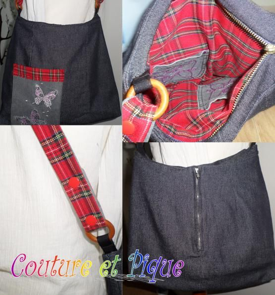Sac fait avec une jupe en jean. les poches avec un pantalon et doublure et anse réglable en tissu écossais. #couture