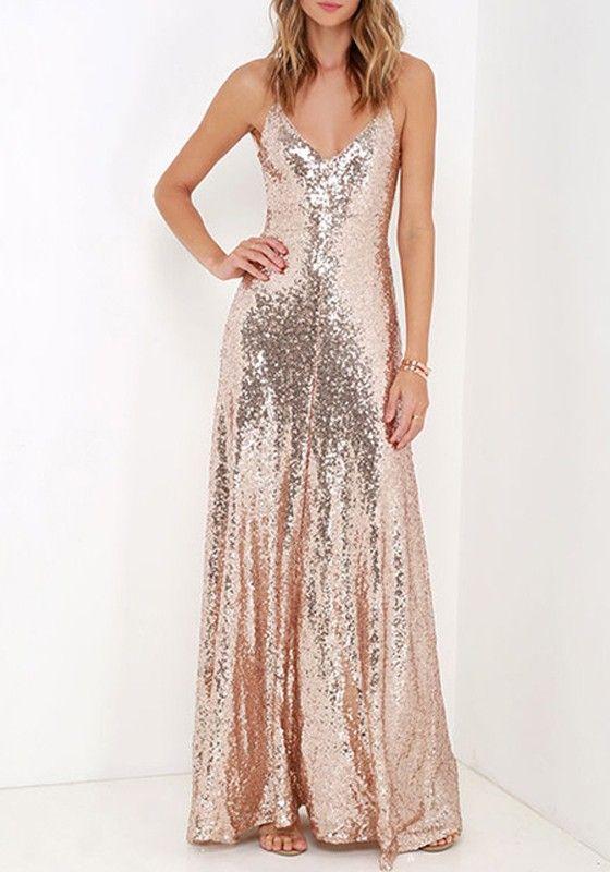 Pink Plain Sequin Bridesmaid Design V-neck Spaghetti Strap Fashion Floor Length Dress