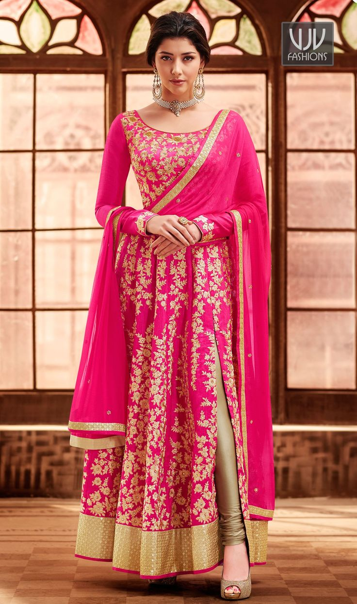 Awesome Hot Pink Color Art Silk Designer Anarkali Suit  Looking amazing with attachment of hot pink color art silk designer anarkali suit. This pretty attire is displaying some fantastic embroidery done with embroidered and patch border work.