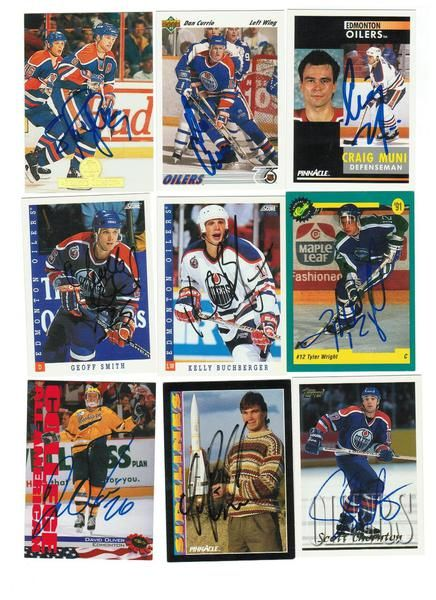 Edmonton Oilers Lot of 9 Autographed Cards. You will receive all cards in the picture. This Lot includes: Tyler Wright, Luke Richardson, Scott Thornton, David Oliver, Craig Muni, Dan Currie, Kelly Buchberger, Geoff Smith & Shayne Corson.