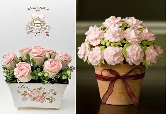 """As featured in """"Cupcake Bouquets"""" on Cake Geek Magazine. (Cupcakes by Sheryl Bito, left and by MotoWifey on CakeCentral, right). For more, see: http://cakegeek.co.uk/index.php/cupcake-bouquets/"""