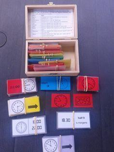 Verschillende spelletjes om het klok kijken zelfstandig of in tweetallen te oefenen.