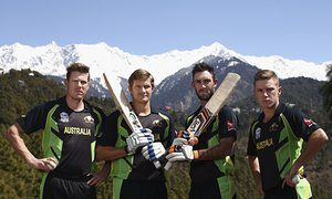 James Faulkner, Shane Watson, Glenn Maxwell and Adam Zampa of Australia muster their best 'blue steel.' in front of the Himalayas ahead of today's game.. https://de.pinterest.com/pin/create/extension/?url=http%3A%2F%2F