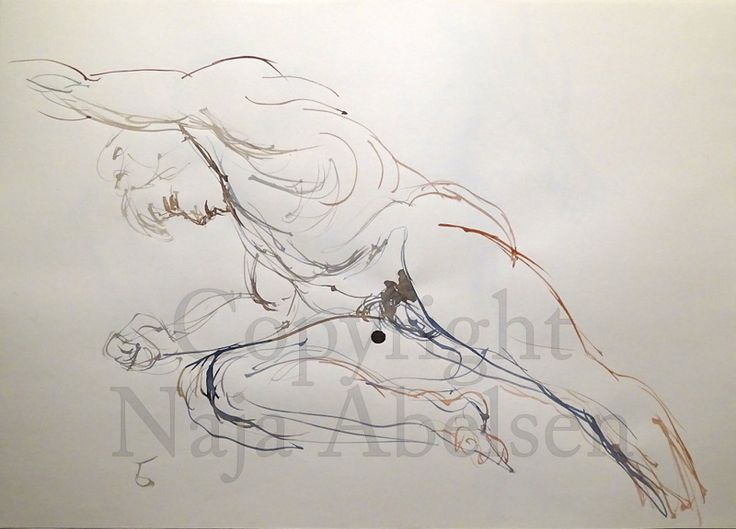 5 minutes croquis study in watercolour. 70 x 50 cm. 2016. By Naja Abelsen.www.najaabelsen.dk