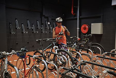bokor - Aurora Place, End Of Trip Facility, Bike Storage, Sydney NSW Published on AFR: http://www.afr.com/real-estate/sydney-offices-pump-millions-into-upgrading-cycling-facilities-20150416-1mioba