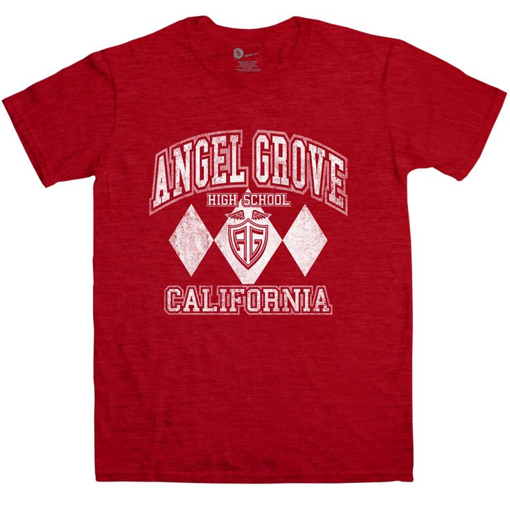 Go go Angel Grove High! For fans of the original Mighty Morphin' Power Rangers TV show, this is the way to show it in a subtle way! This tee features a distressed, vintage look white print of a logo for the school attended by the original Rangers: Jason, Zack, Billy, Trini, Kimberley, Tommy, Rocky, Adam, Aisha and Kat (did you remember them all?) Has the logo of the school as seen on the show within a white diamond pattern inspired by the Rangers' uniforms. Angel Grove was also attended by…