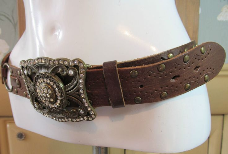 """River Island brown studded diamante buckle link leather belt 35"""" - 40"""" R13426"""