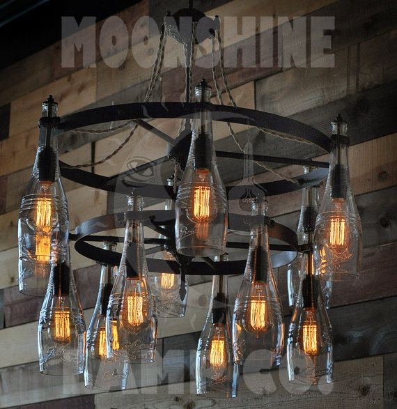 100 best custom lighting and light design images on pinterest a 24 round two tiered recycled bottle light chandelier this can be made from aloadofball Gallery
