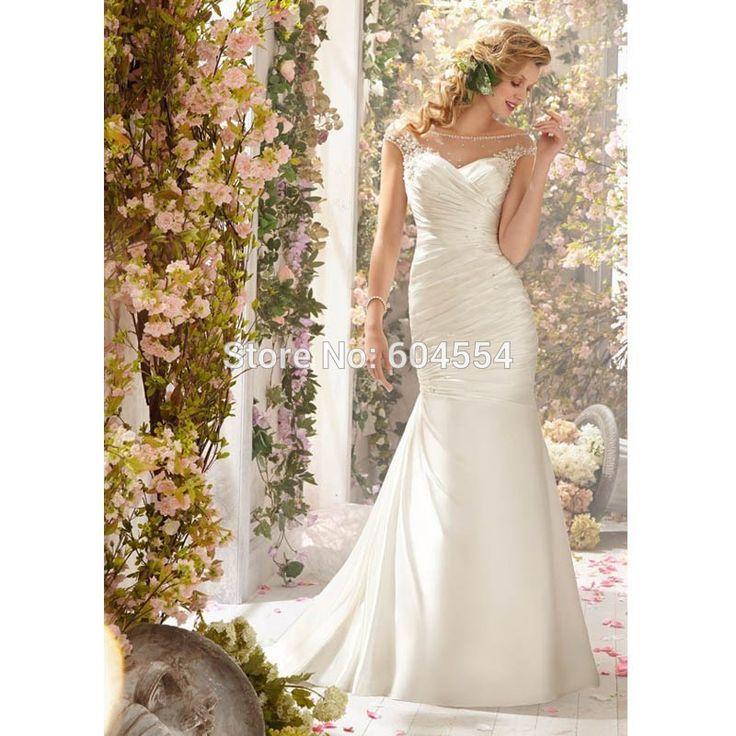 Barato 2015 Custom Made Vestido De Noiva branco / marfim cetim plissado Beading cristal Mermaid Vestido De Noiva Robe De Mariage, Compro Qualidade Vestidos de noiva diretamente de fornecedores da China:                                                                                                        Bem-vindo à nossa