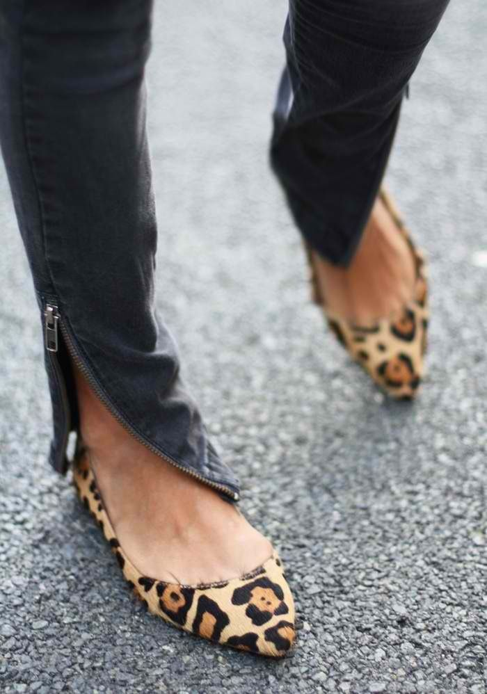 Zippers are cool. Like the color and length of the jeans. Love animal print shoes