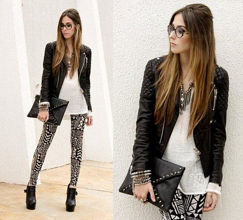 ROCKER CHIC, printed pants, moto jacket