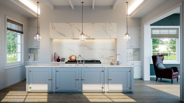 Add a pop of color in your kitchen! This blue kitchen trend has taken over the kitchen world with neutral countertops. Can you dig it? For more, check out interiorcollective.com