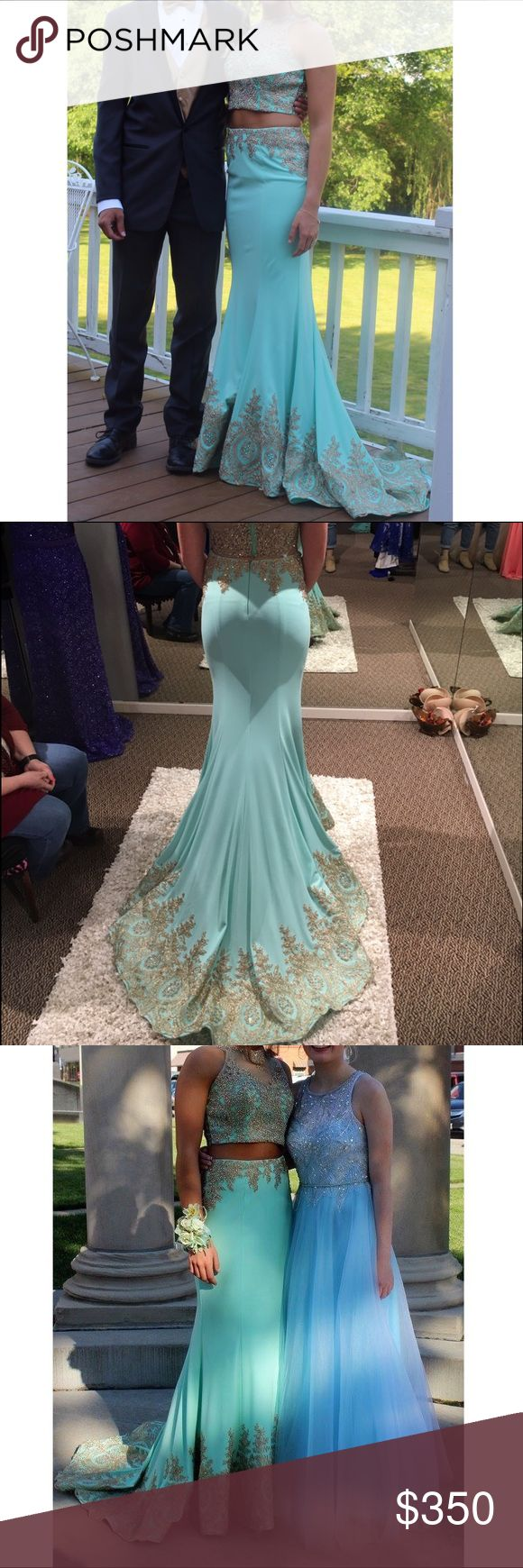 Aqua gold two piece prom dress Gold beaded formal dress, size 6, no alterations, good condition, flexible with price, please feel free ask questions! Dress is made by Tiffany, not Sherri hill Sherri Hill Dresses Prom