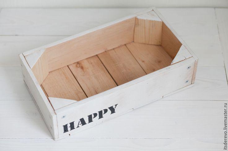"""Купить Ящик """"Happy&Love"""" - белый, ящик, ящик для хранения, ящик для игрушек, ящик из дерева, подарок"""