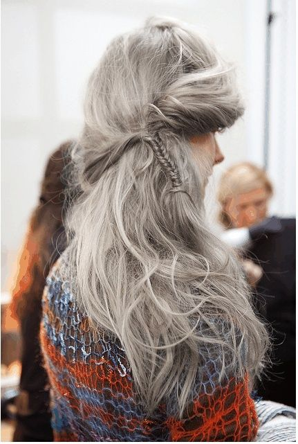 so pretty.  I think some people are afraid to go gray thinking that they have to have short hair, or can't keep their current style.
