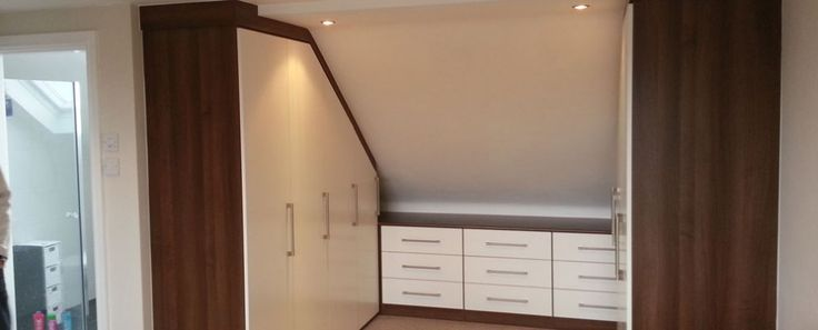 Pitched roof closet.
