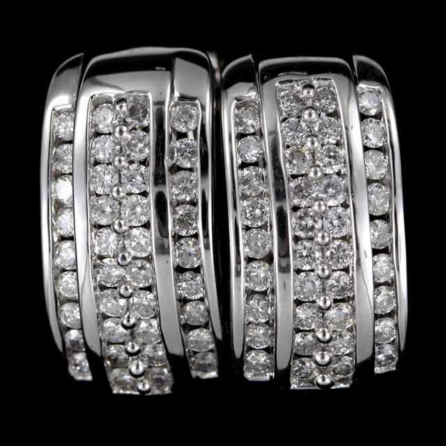 CERT STUNNING 18K WHITE GOLD  76 DIAMONDS EARRINGS SCO 2  certified diamond earrings in gold
