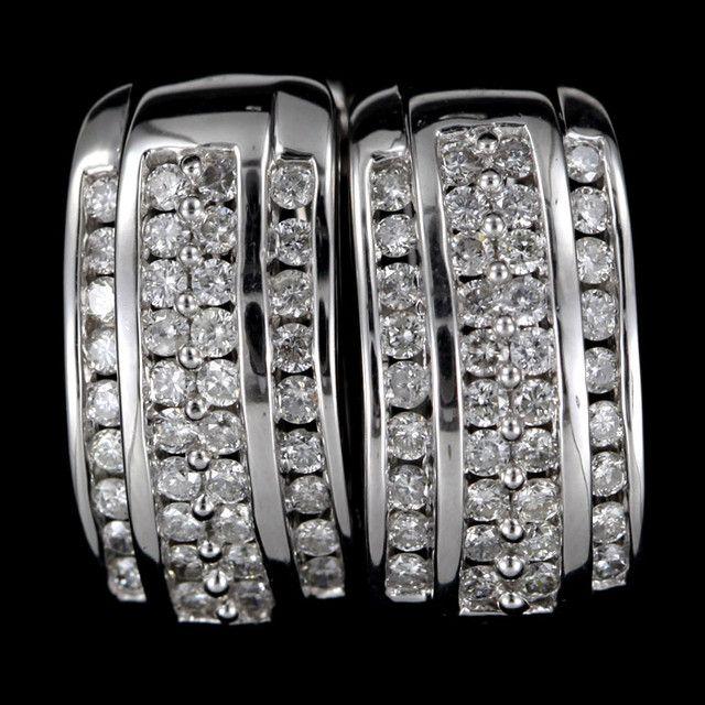 CERT STUNNING 18K WHITE GOLD  76 DIAMONDS EARRINGS SCO 2  certified diamond earrings in gold