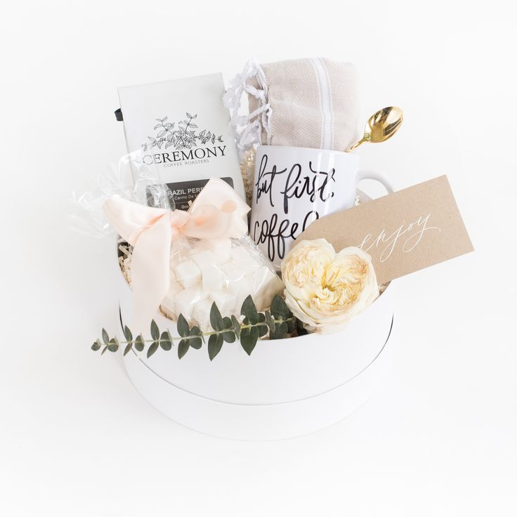 """But First Coffee"" Gift Box by Marigold & Grey // thank you gift / wedding welcome gifts / hostess gift / bridesmaid gift / housewarming gift / client gift / corporate gift / bridal shower gift / engagement gift / coffee / tea / bride / bride-to-be / engaged / Source: https://www.marigoldgrey.com/shop/pre-designed-gifts.html"