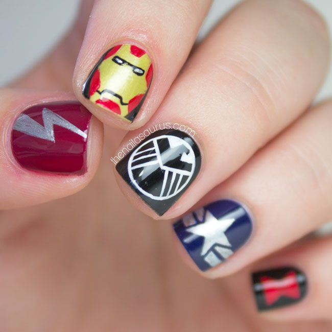 The Lacquer Legion Fandom: Avengers Nail Art. If I did this my little boy would love me forever