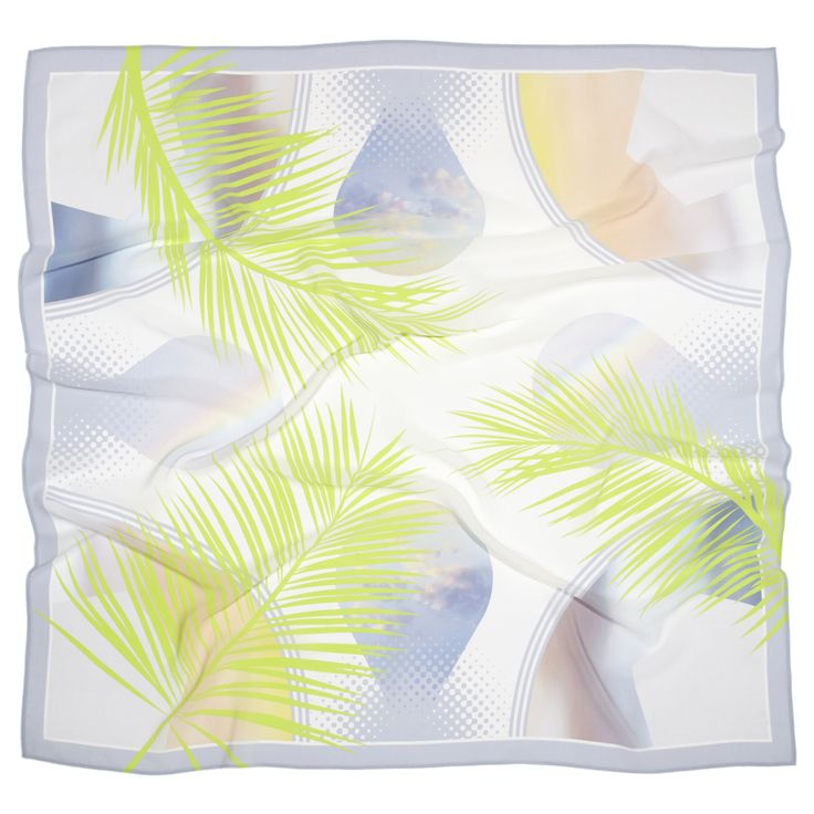 Balmy Palmy silk scarf. This pattern celebrates stormy skies and overhead palms to create a pastel montage. Designed by Project Fond a percentage of all profits goes towards The Girl Effect.