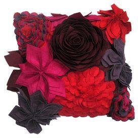 Felt Pillow With Multicolor Floral Applique Detailing