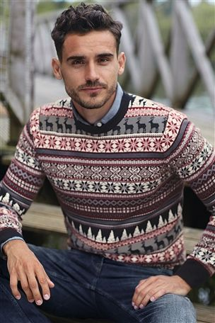 Navy Pattern Crew. Ugly Christmas jumper