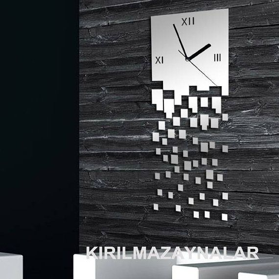 decorative square mirror wall clock modern birthday by walldecal76, $29.00