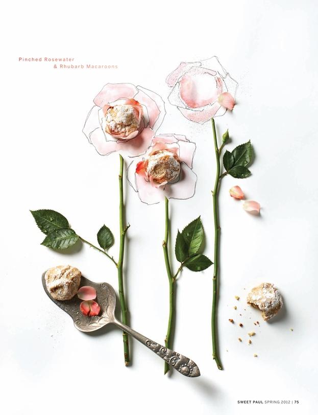 Pinched Rosewater & Rhubarb Macaroons #sweetpaulmagazine