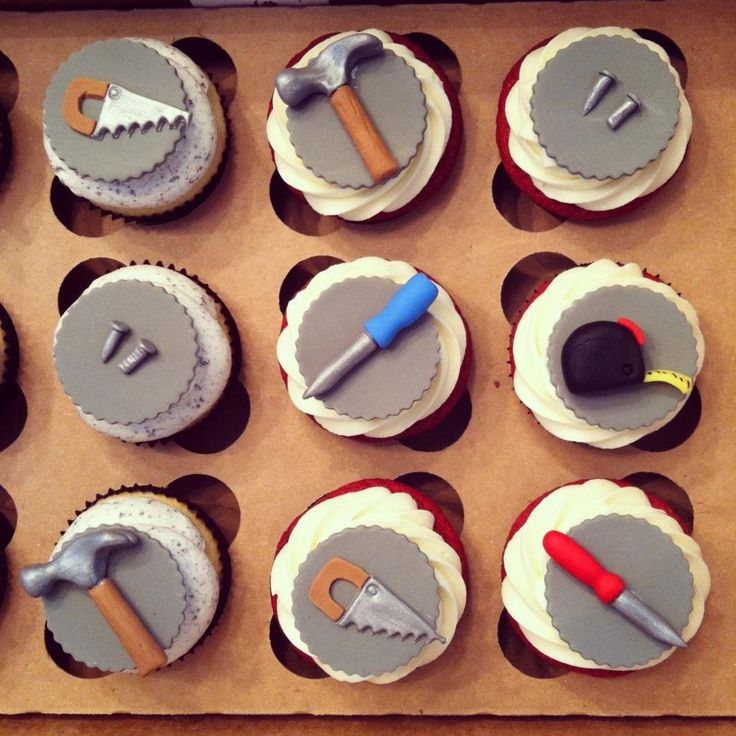 kids mini cakes fondant boys tools - Google Search