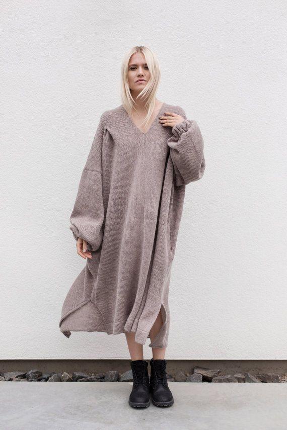 Übergroße Winterkleid | Mohair Kleid | V Ausschnitt Kleid | Langes Kleid | Lila Kleid ertrinken