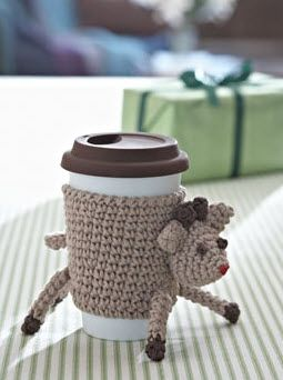 Bernat® Reindeer Cup Cozy #christmas #crochet #pattern