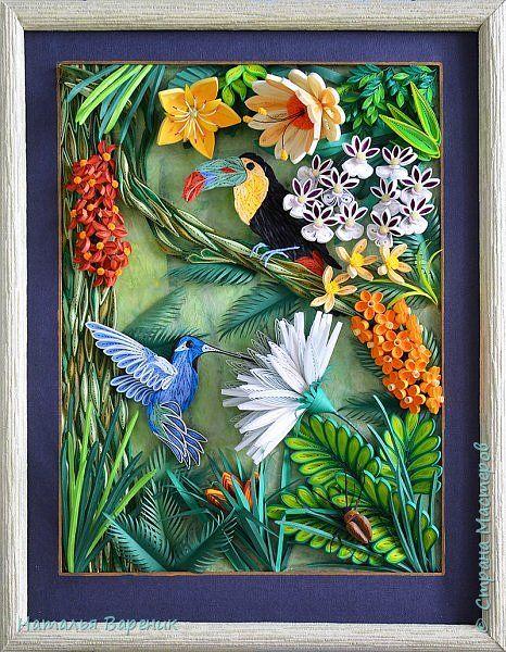 Картина панно рисунок Квиллинг Тропики Бумага Бумажные полосы фото 1