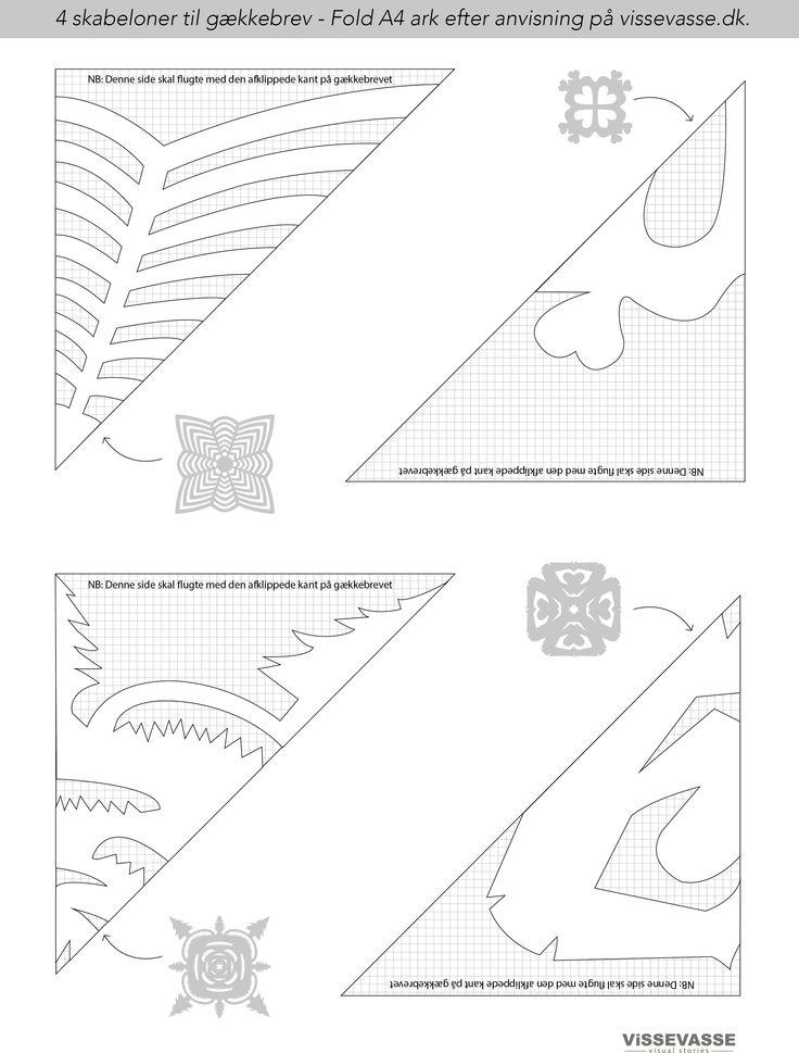 Der er både skabeloner for den ambitiøse, den fingernemme og selv de yngste i familien kan være med. Skabelonerne er nemlig lavet i 4 forskellige sværhedsgrader. Print og klip de skabeloner ud, du vil bruge. Her kan du sagtens bruge almindeligt hvidt papir. Skabelonerne passer til A4 papir.