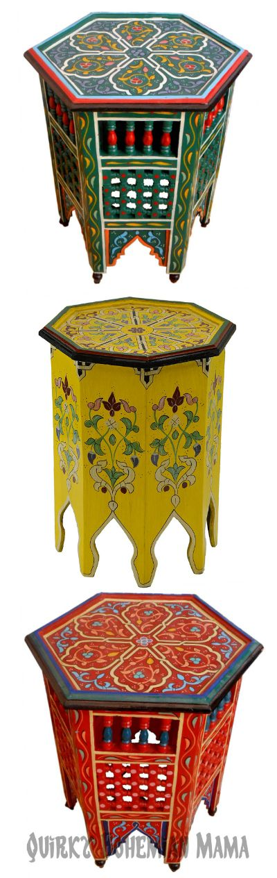 Colorful Moroccan Side Tables {Bohemian Accent Tables}