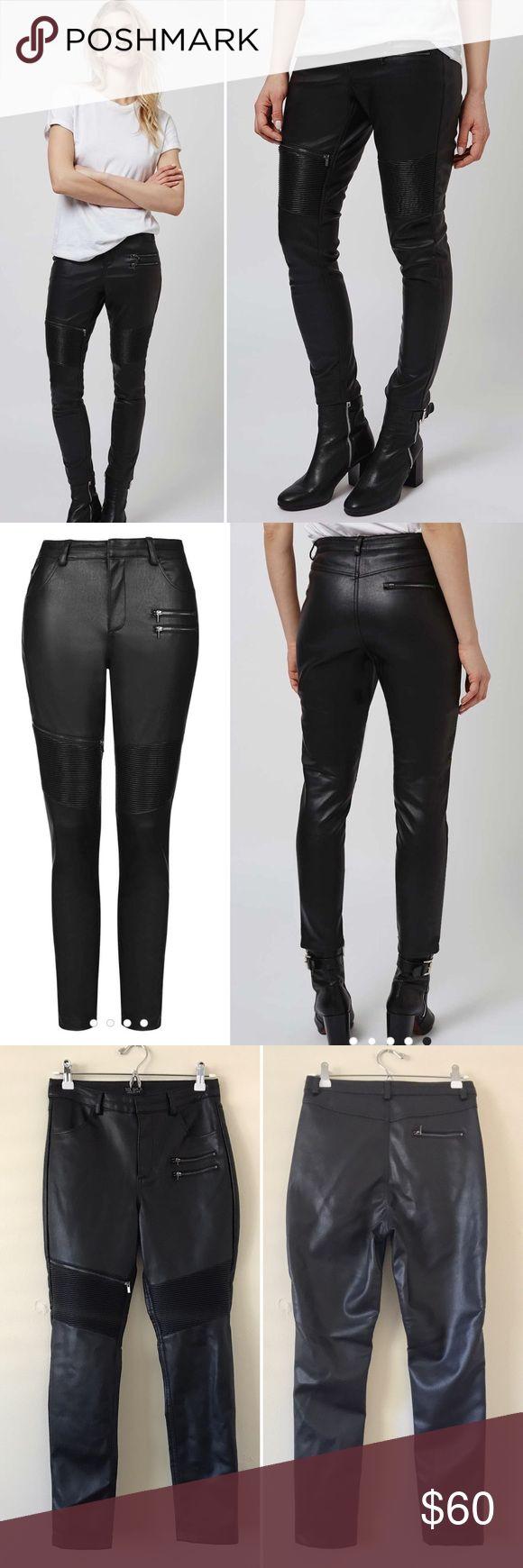 Topshop Moto Faux Leather Pants Sz 6 Topshop, size 6. Black moto faux leather pants. Super edgy, slouchy fit. Topshop Pants Skinny