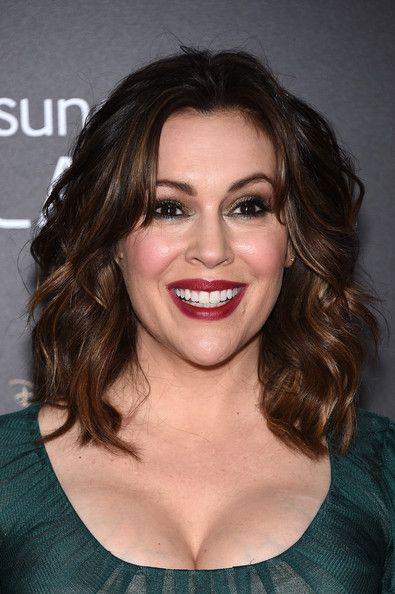 Alyssa Milano Medium Wavy Cut with Bangs - Shoulder Length Hairstyles Lookbook - StyleBistro