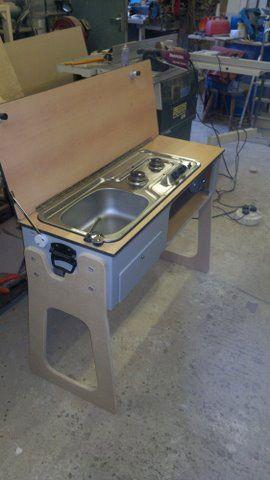 Removable sink and cooker unit built to fit Mazda Bongo camper van