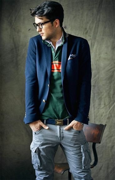 Check shirt, rugby shirt, jacket, combats?!...let's just stick it altogether. I think I'm drawn to his posture.