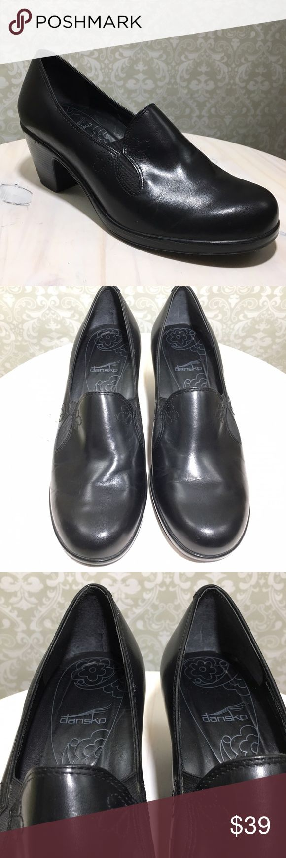 """DANSKO Beth Black Leather Pumps Clogs Embroidered DANSKO - Beth Women Size 10/40  Black  Leather  Pumps Clogs  Embroidered FloralAccents 2.75"""" Heel  Overall excellent condition. Minor scratches and scuffs throughout. Construction and material in excellent condition. Minor creasing at toe. Dansko Shoes Heels"""